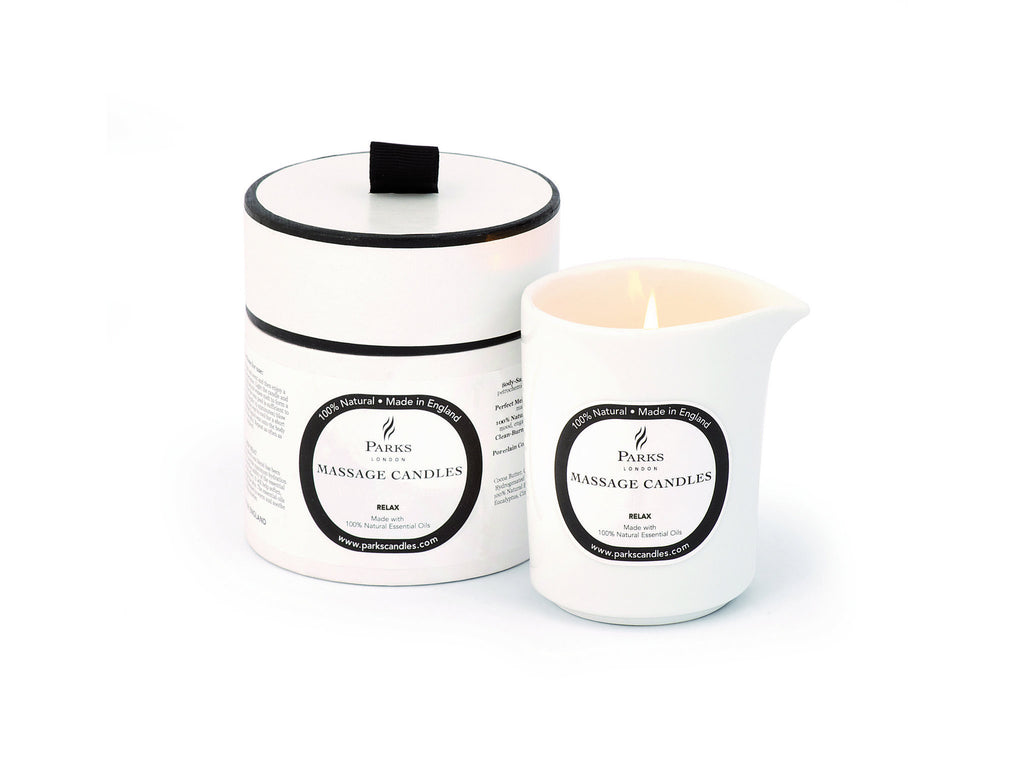 Relaxing and de-stress massage candle fragranced with Geranium, Camomile & Lavender