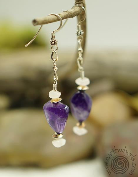 Natural Stone Amethyst & Sterling Silver