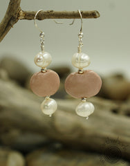 AFRICAN CLAY & PEARL EARRINGS