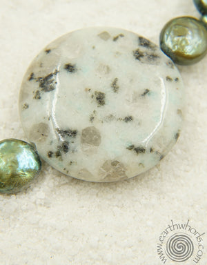 Kiwi Jasper, Fresh Water Pearl, Hill Tribe & Bali Silver Necklace - EarthWhorls, LLC
