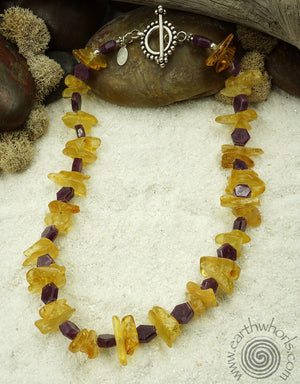 Amber, Ruby, Hill Tribe & Sterling Silver Choker - EarthWhorls, LLC