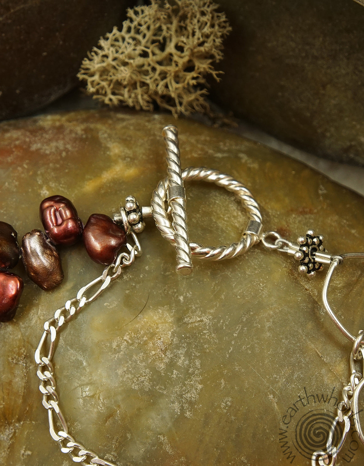 Copper Pearl & Sterling Silver Bracelet - EarthWhorls, LLC