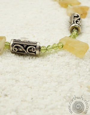 Citrine, Peridot, Hill Tribe & Sterling Silver Necklace - EarthWhorls, LLC