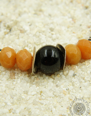 Aventurine, Onyx & Sterling Silver Necklace - EarthWhorls, LLC