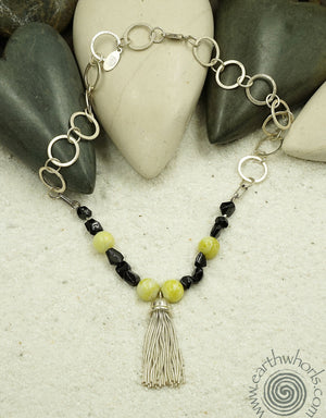 Jade, Jet & Sterling Silver Necklace - EarthWhorls, LLC