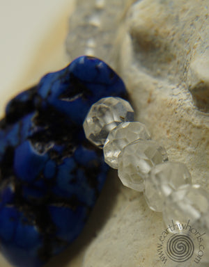 Lapis, Quartz Crystal & Sterling Silver Bracelet - EarthWhorls, LLC