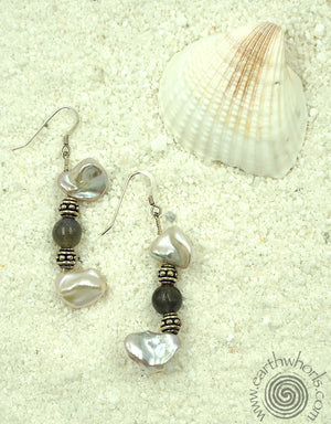 Chalcedony, Fresh Water Pearl & Sterling Silver Earrings - EarthWhorls, LLC