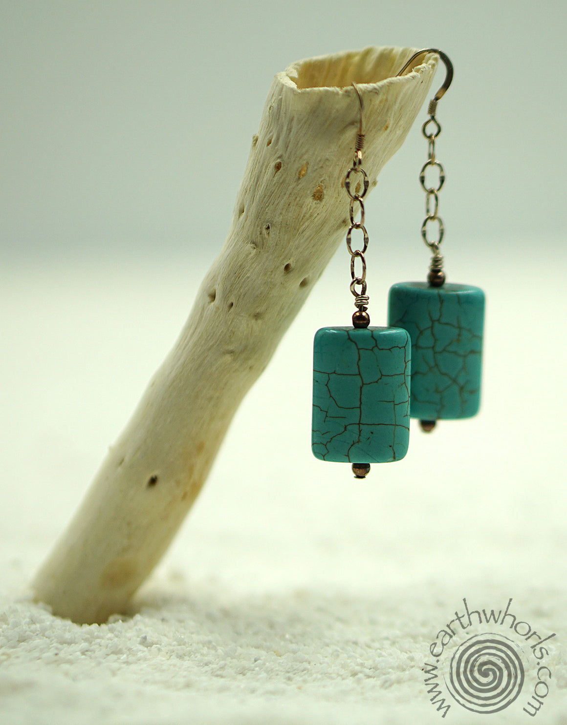 Turquoise & Sterling Silver Earrings - EarthWhorls, LLC