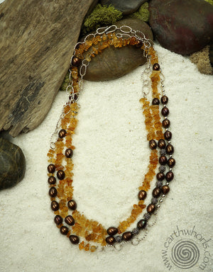 Citrine, Pearl, Hill Tribe & Sterling Silver Necklace - EarthWhorls, LLC