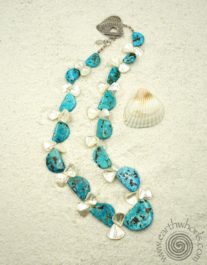 Turquoise, Abalone, Hill Tribe & Sterling Silver Necklace