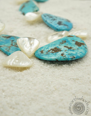 Turquoise, Abalone, Hill Tribe & Sterling Silver Necklace - EarthWhorls, LLC