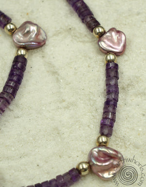 Amethyst, Pearl & Silver Lariat Necklace - EarthWhorls, LLC