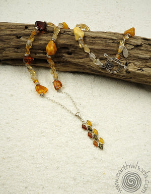 Amber, Citrine & Sterling Silver Pendant Necklace - EarthWhorls, LLC