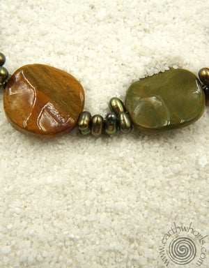 Ocean Jasper, Fresh Water Pearl & Sterling Silver Necklace