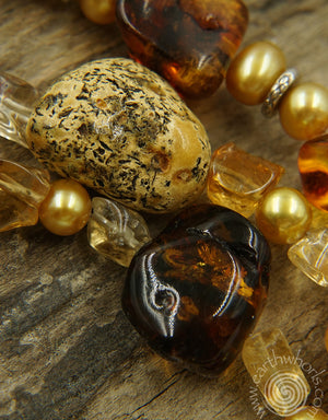 Amber, Citrine, Pearl & Sterling Silver Necklace - EarthWhorls, LLC
