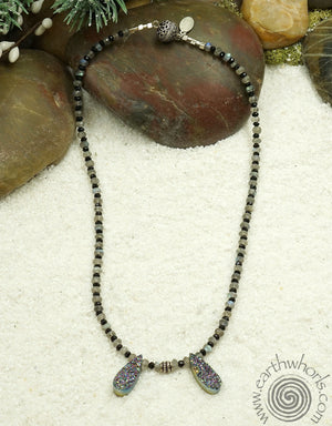 Drusy, Labradorite & Sterliing Silver Necklace - EarthWhorls, LLC