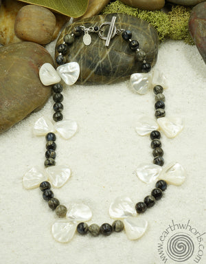 Abalone, Agate & Onyx Necklace - EarthWhorls, LLC