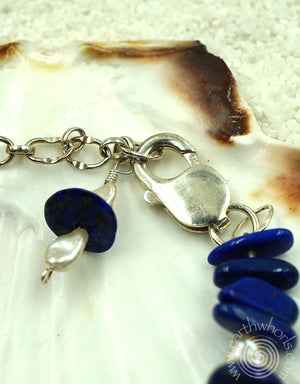 Lapis, Fresh Water Pearl & Sterling Silver Bracelet - EarthWhorls, LLC