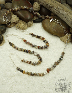 Botswana Agate, Hill Tribe & Sterling Silver Necklace - EarthWhorls, LLC