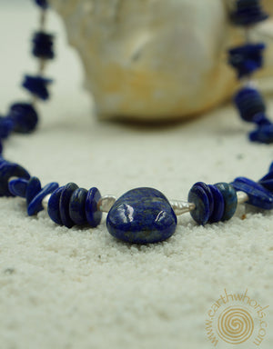 Lapis, Fresh Water Pearl & Sterling Silver Necklace - EarthWhorls, LLC
