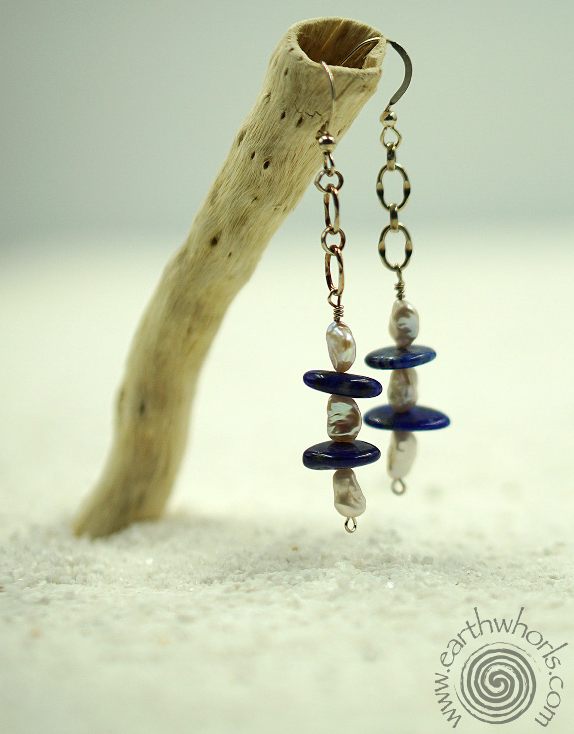 Lapis, Fresh Water Pearl & Sterling Silver Earrings - EarthWhorls, LLC