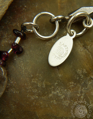 Rutilated quartz, Garnet & Sterling Silver Necklace - EarthWhorls, LLC