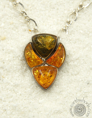 Murano Glass, Amber & Sterling Silver Necklace - EarthWhorls, LLC