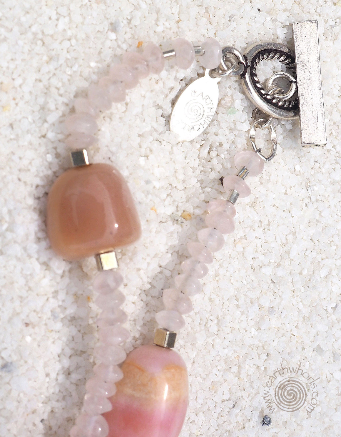 Pink Opal, Moonstone & Sterling Silver Necklace - EarthWhorls, LLC