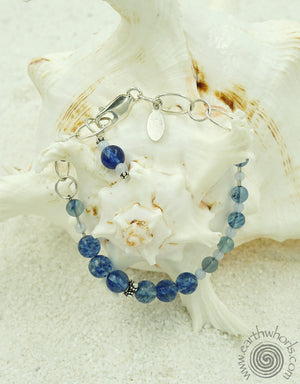 Blueberry Quartz, Blue Lace Agate, Hill Tribe & Sterling Silver - EarthWhorls, LLC