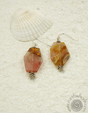 Strawberry Quartz & Sterling Silver Earrings