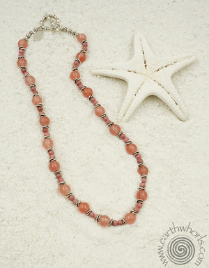 Cherry Quartz & Sterling Silver Necklace - EarthWhorls, LLC