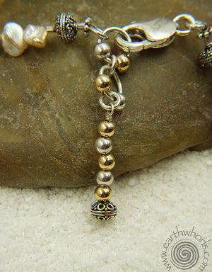 Fresh Water Pearl & Sterling Silver Wrap-It Design - EarthWhorls, LLC