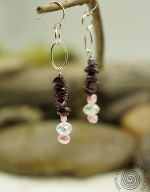 Garnet & Pearl Earrings - EarthWhorls, LLC