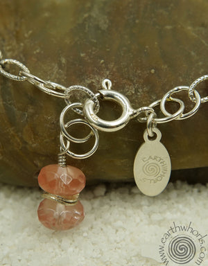 Cherry Quartz, Pearl & Silver Bracelet - EarthWhorls, LLC