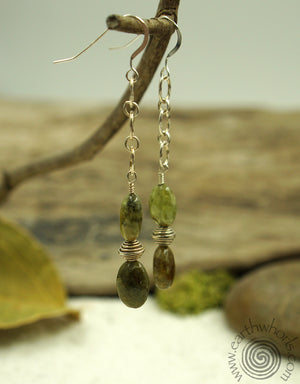 Jade & Silver Earrings - EarthWhorls, LLC