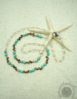 Sleeping Beauty Turquoise, Fresh Water Pearl & Sterling Silver Necklace