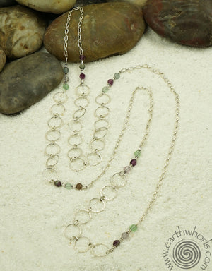 Flourite & Sterling Silver Necklace - EarthWhorls, LLC