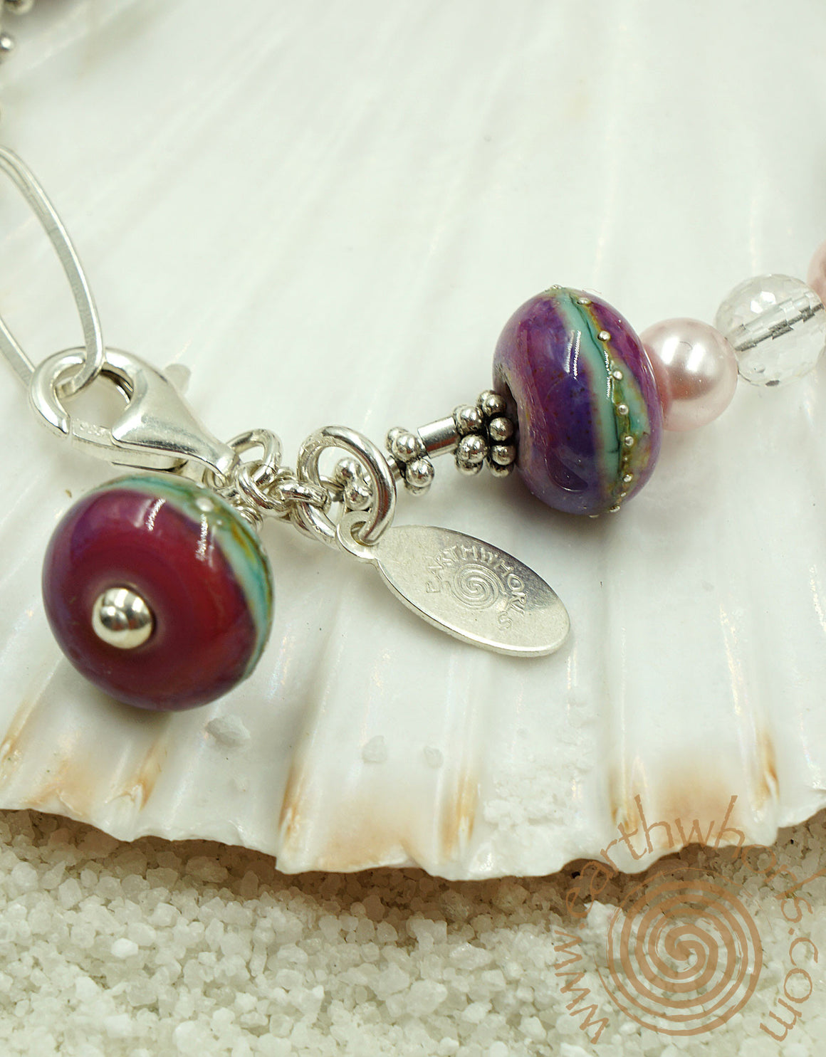 Handmade Glass Bead Bracelet with Sterling Silver & Pearls - EarthWhorls, LLC