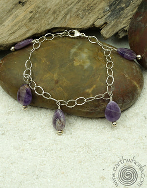 Amethyst & Sterling Bracelet - EarthWhorls, LLC