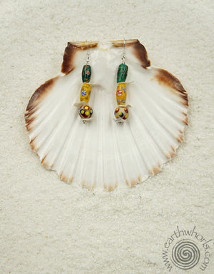 Handmade Glass Beads, Hawaiian Shells & Sterling Silver Earrings - EarthWhorls, LLC