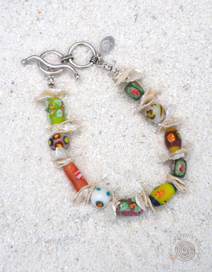Handmade Glass Bead, Shell & Sterling Silver Bracelet - EarthWhorls, LLC