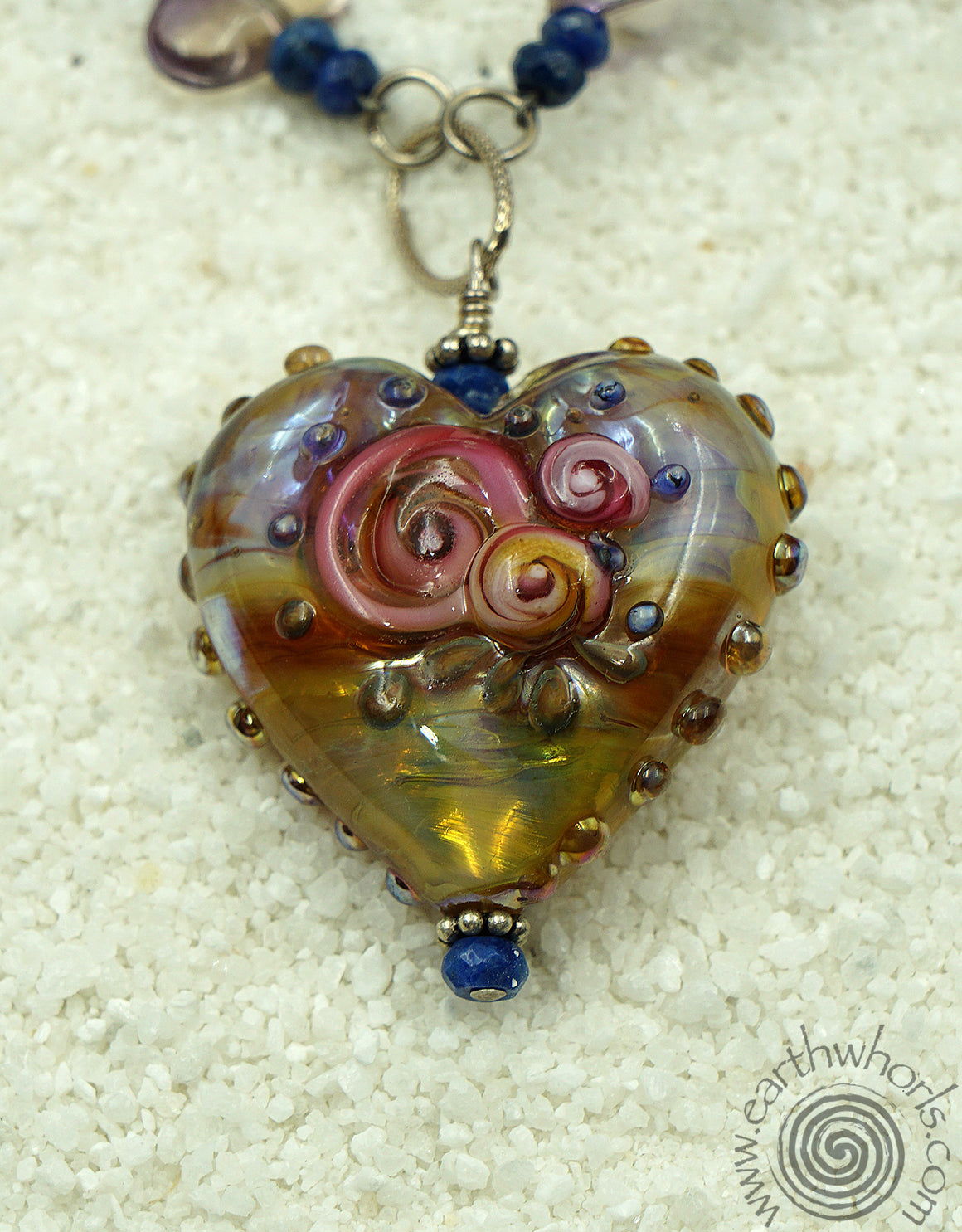 Handmade Glass, Gemstone & Silver Necklace - EarthWhorls, LLC