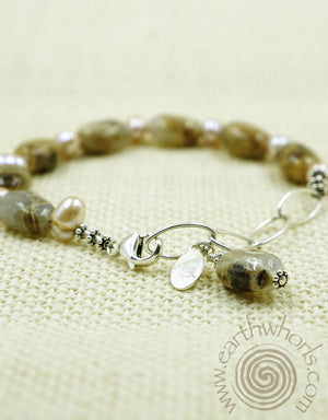 Chalcedony, Fresh Water Pearl & Sterling Silver Bracelet - EarthWhorls, LLC