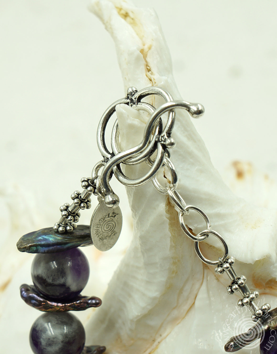 Blue Lapis, Fresh Water Pearls & Sterling Silver Necklace - EarthWhorls, LLC