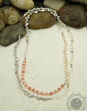 Pearl, Quartz & Silver Necklace