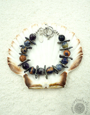 Blue Lapis & Raw Fresh Water Pearl Bracelet - EarthWhorls, LLC