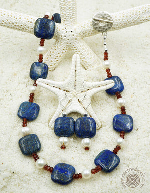 Lapis, Garnet, Fresh Water Pearl & Sterling Silver Necklace - EarthWhorls, LLC
