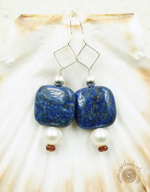 Lapis, Garnet, Fresh Water Pearl & Sterling Silver Earrings - EarthWhorls, LLC