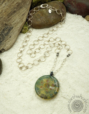 Glass & Sterling Silver Pendant Necklace - EarthWhorls, LLC