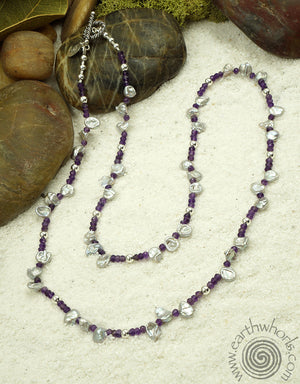 Amethyst & Pearl Necklace - EarthWhorls, LLC